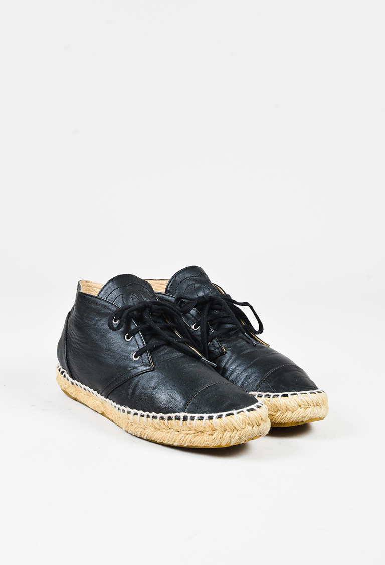 Black Leather High Top Lace Up Espadrille Sneakers