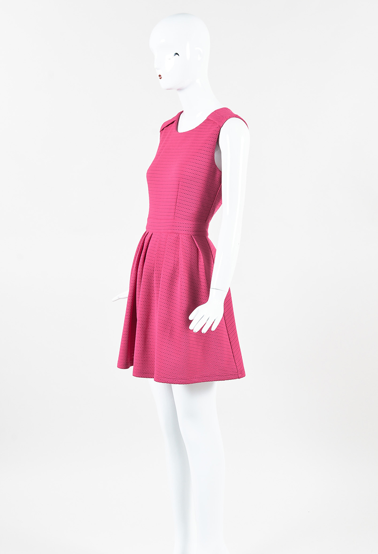 Pink Pleated Open Knit Fit & Flared Dress