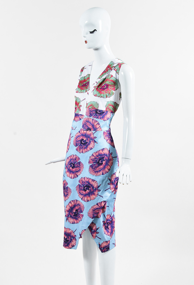 "Blue Multicolor Floral Print Asymmetrical ""Elida"" Dress"