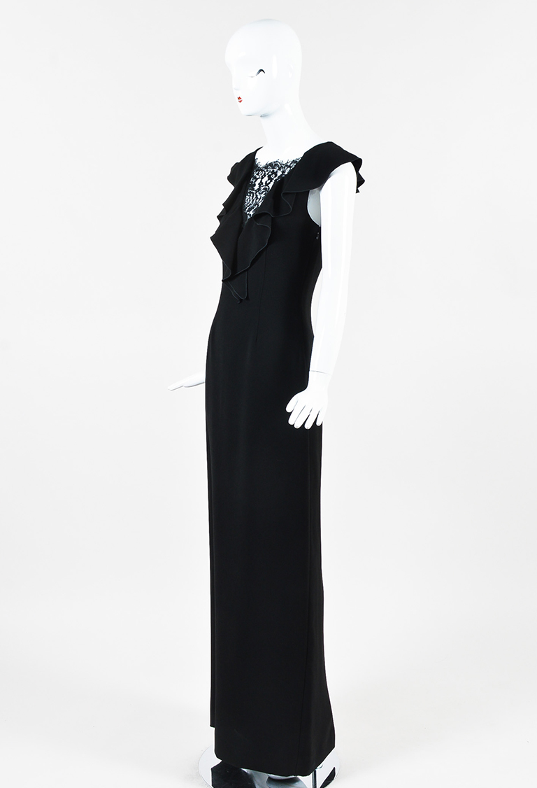 "Black Ruffled Lace Inset ""Marty"" Gown"