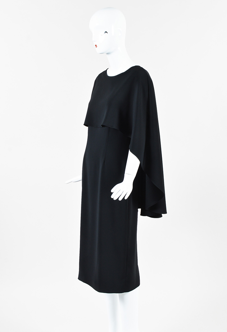 Black Crepe Draped Cape Dress