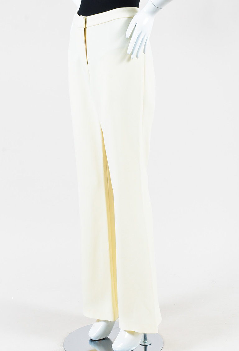 Cream Crepe Wide Leg Trouser Pants