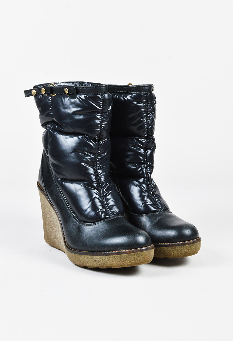 FirstRate Womens Moncler Wedge Heel Ankle Boots Best