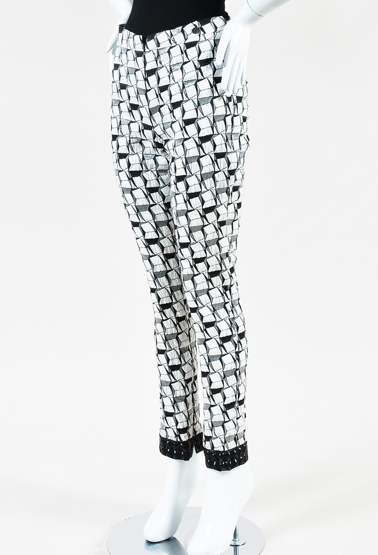 Cruise 2015 White Black 3D Effect Geometric Patterned Pants