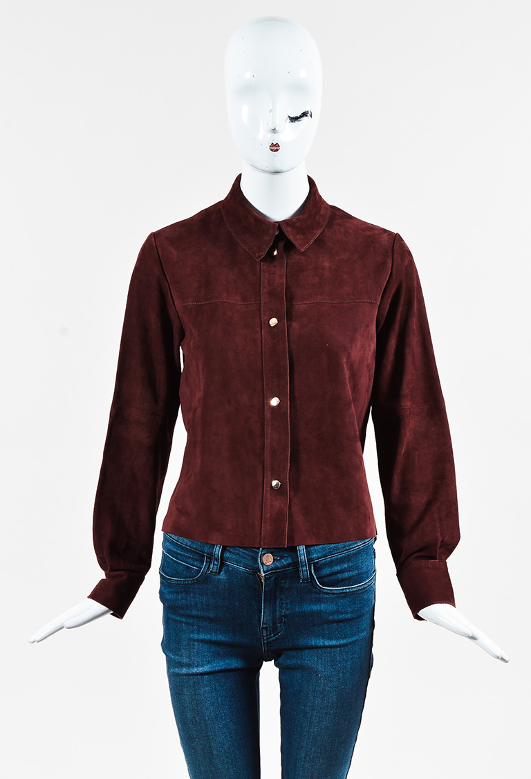 Dark Red Suede Snap Front Collared Long Sleeve Shirt