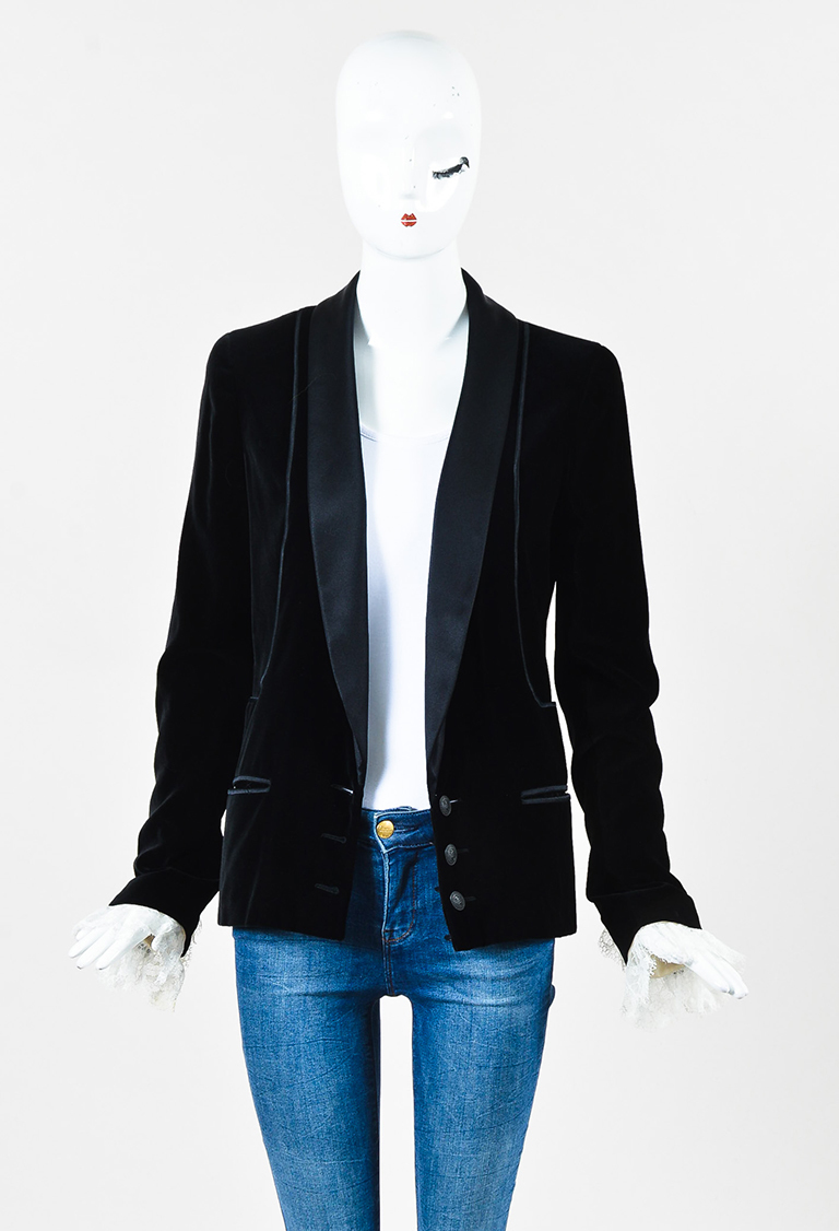 Black & White Velvet & Satin Lace Trim Tuxedo Jacket
