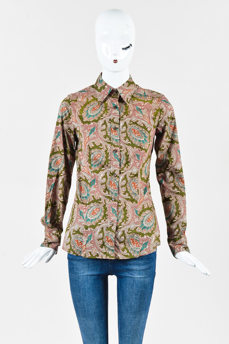 Green Multicolor Long Sleeve Buttoned Shirt