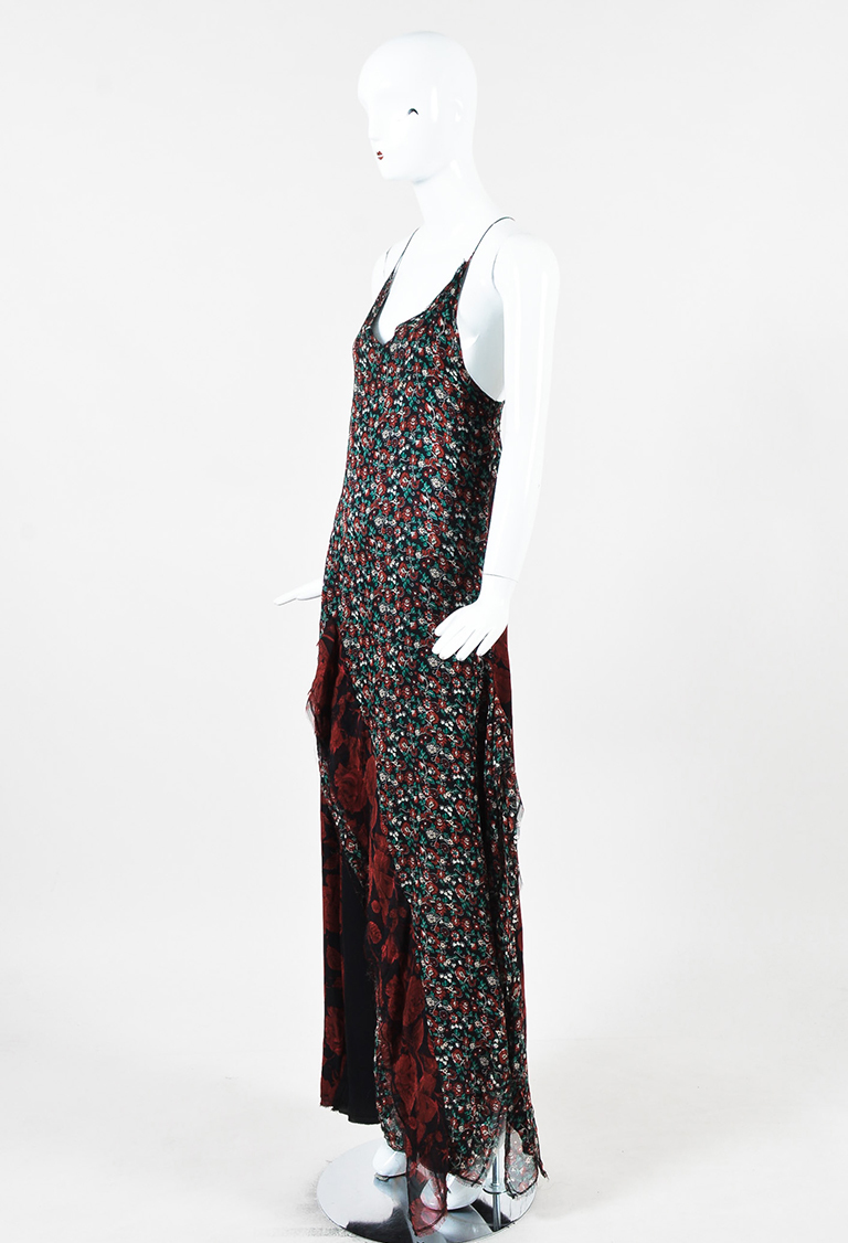 "Red Multi Silk Chiffon Floral ""Slit Slip"" Sleeveless Maxi Dress"