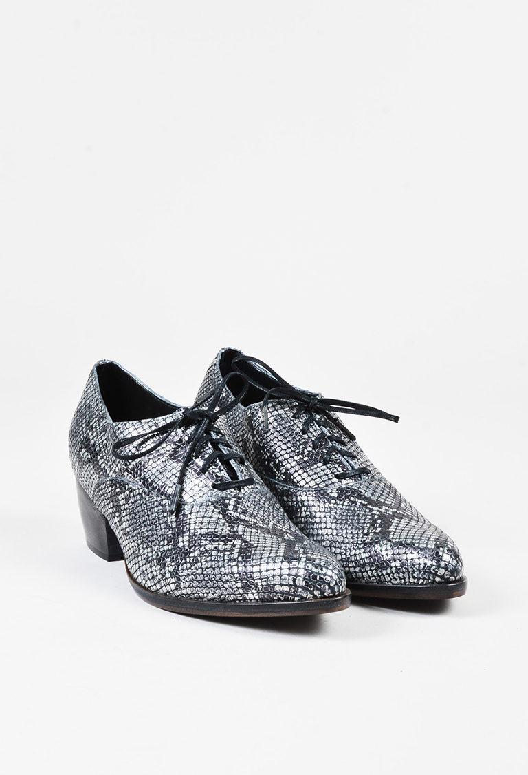 "Metallic Silver Leather Embossed Lace Up ""Kale"" Oxfords"