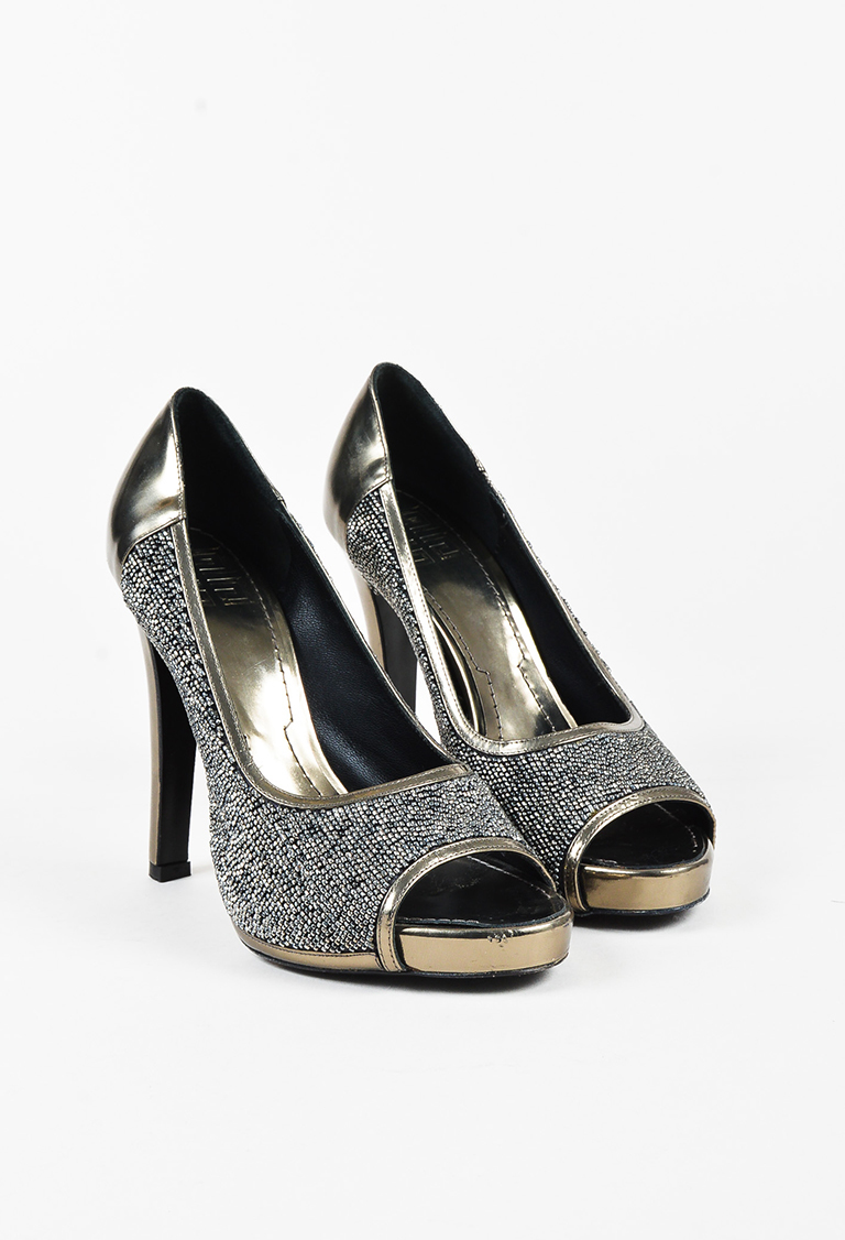 Metallic Gold Mirrored Leather Beaded Peep Toe Pumps