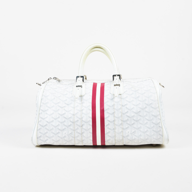 Goyard White Gray Red Coated Canvas Leather Goyardine Croisiere - How to create a paypal invoice goyard online store