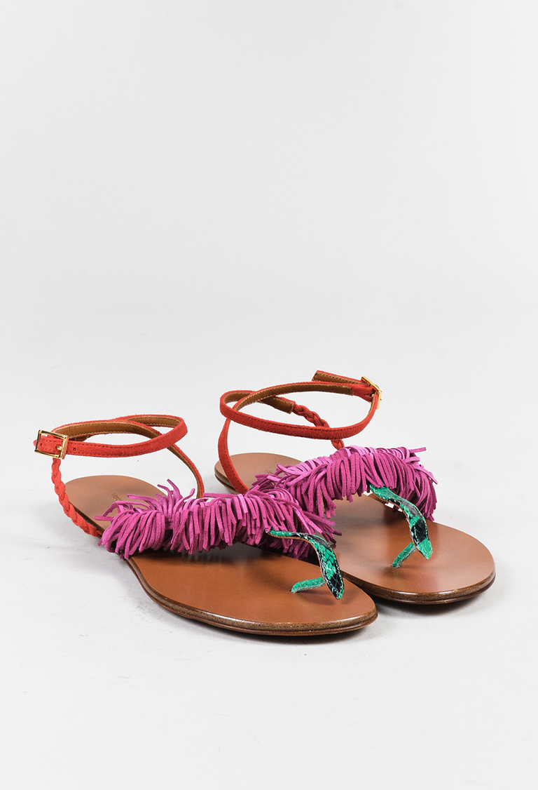 "Green Pink & Red Suede Fringed ""Kota"" Sandals"