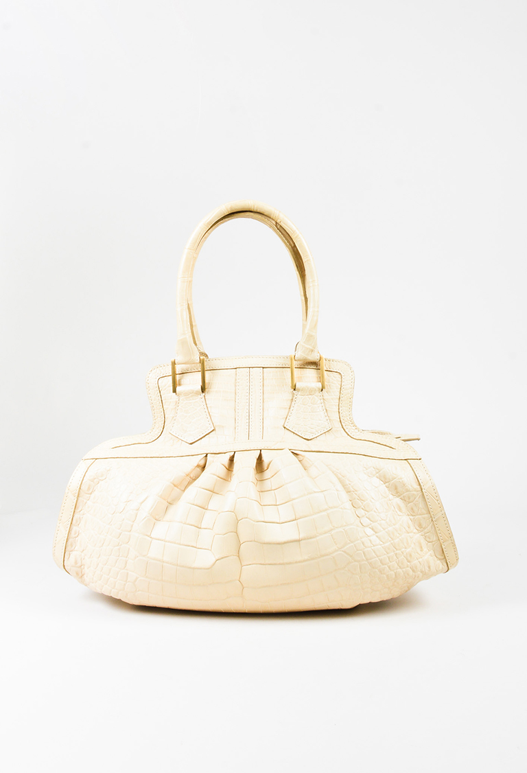 Cream Genuine Crocodile Double Handle Satchel Bag