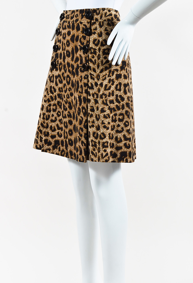 Cheap and Chic Black Tan & Cream Wool Buttoned Animal Print Skirt
