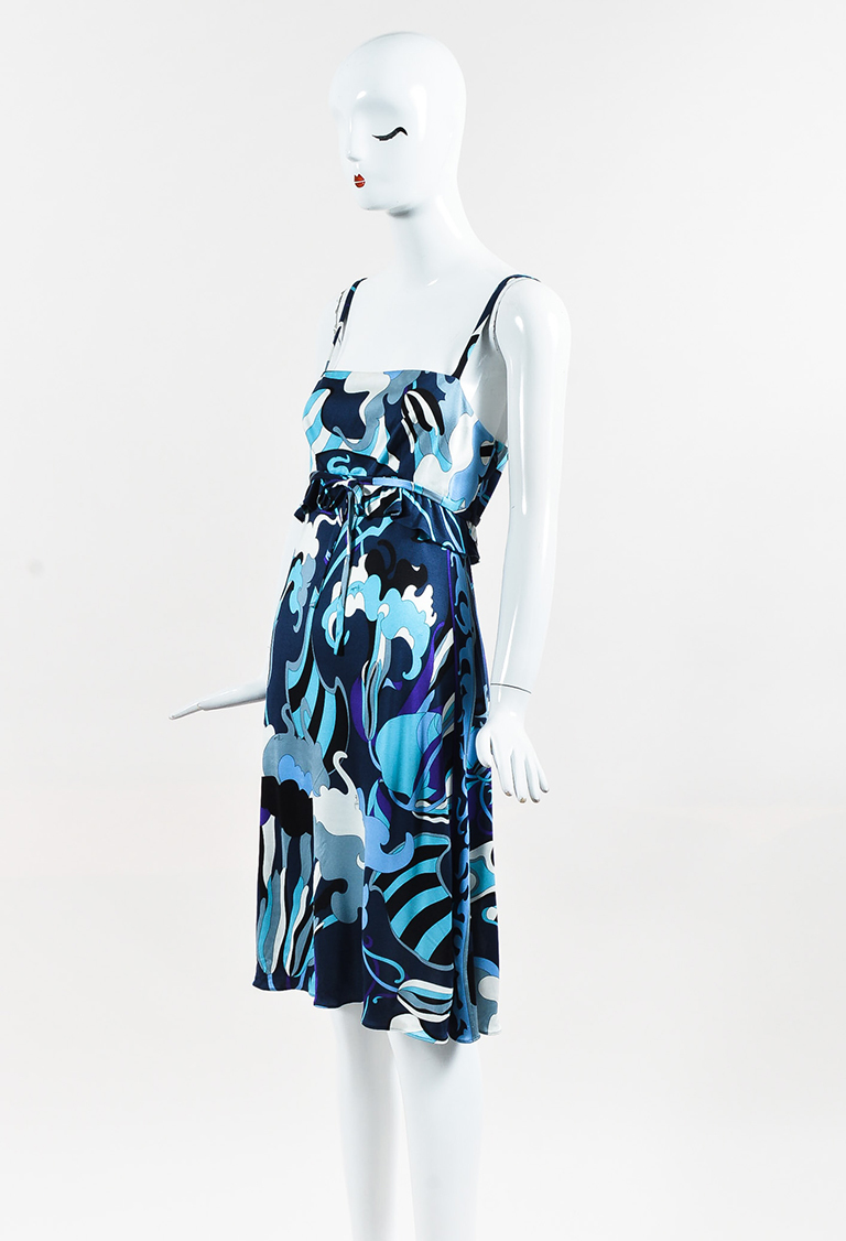 Blue Multicolor Abstract Print Ruffled Empire Waist Dress