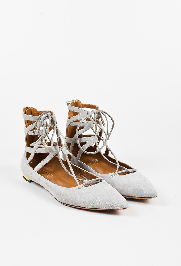 """Light Gray Suede """"Belgravia"""" Lace Up Flats"""