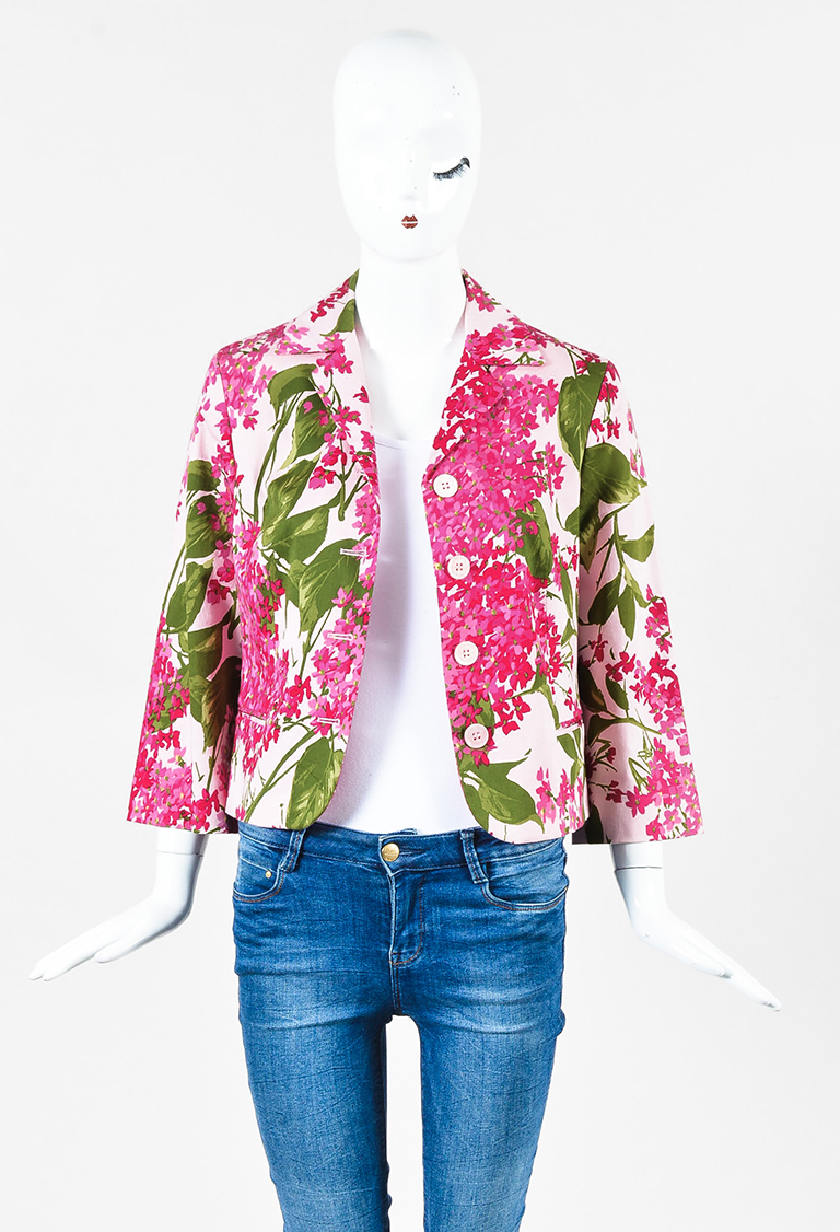 Cheap and Chic Pink Multi Cotton Blend Floral Print Blazer Jacket