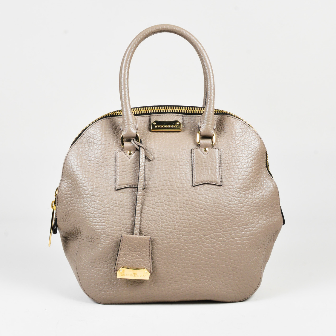 2101ca5273c3 Details about Burberry Taupe Grained Leather Medium