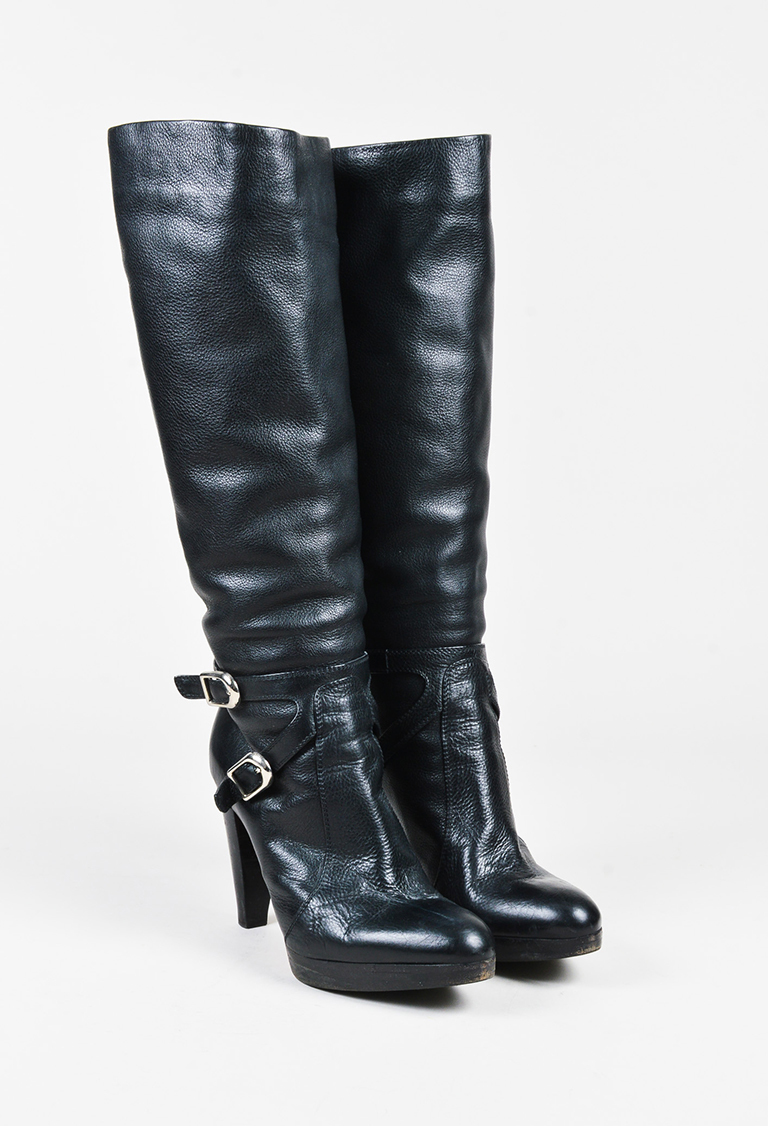 359c9a7bc Black Leather Buckled Knee High Platform Boots | Luxury Garage Sale