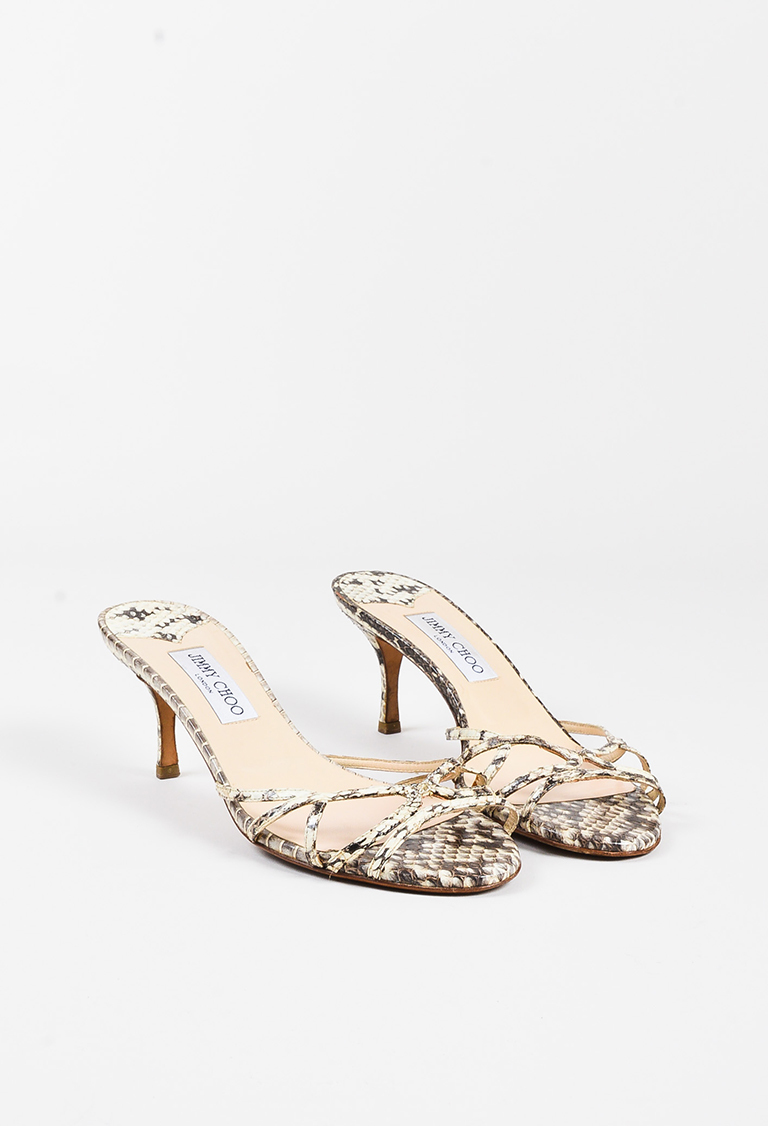 Cream Grey Genuine Python Open Toe Heeled Sandals