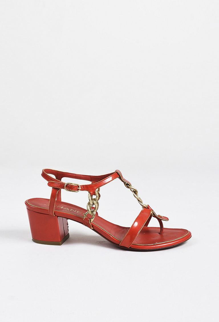 Red Patent Leather Chain Link Strappy Block Heel Sandals