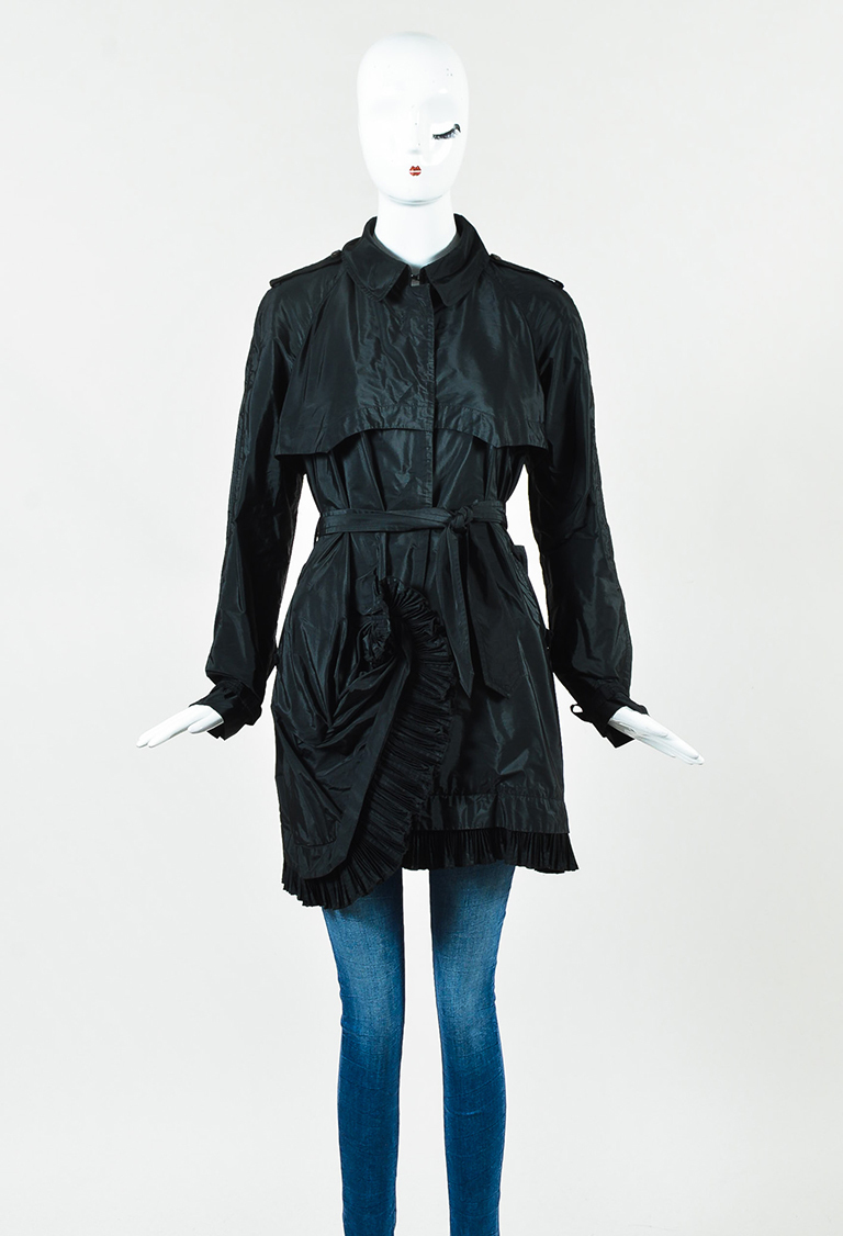 Black Nylon Pleated Ruffle Trench Jacket