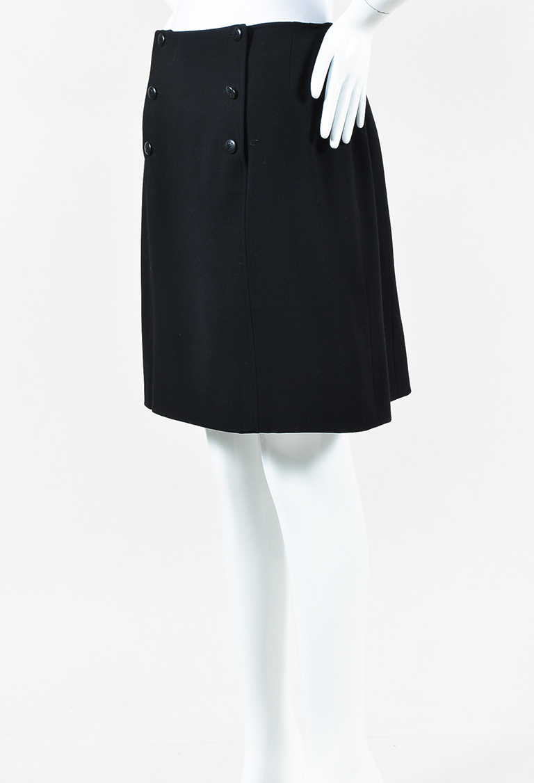 Boutique Cruise 1997 Black Wool 'CC' Button Straight Skirt