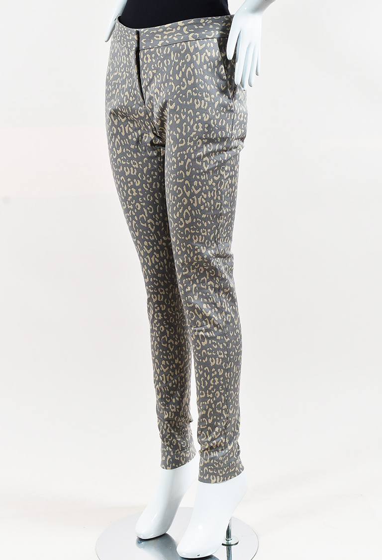 Gray Cream Jacquard Leopard Print Trousers