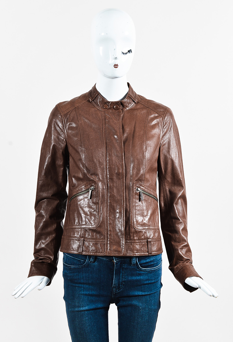 Brown Leather Zipped Moto Jacket