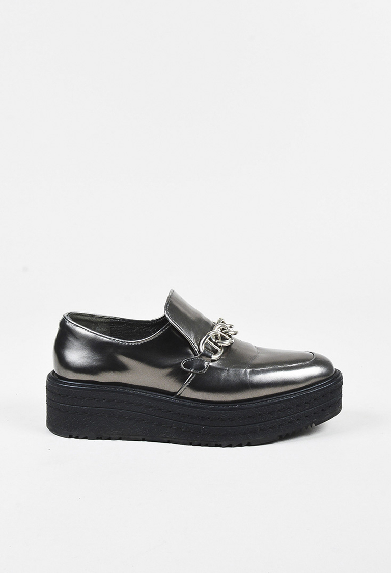 """Antracite"" Metallic Grey Leather Enchained Platform Creepers"