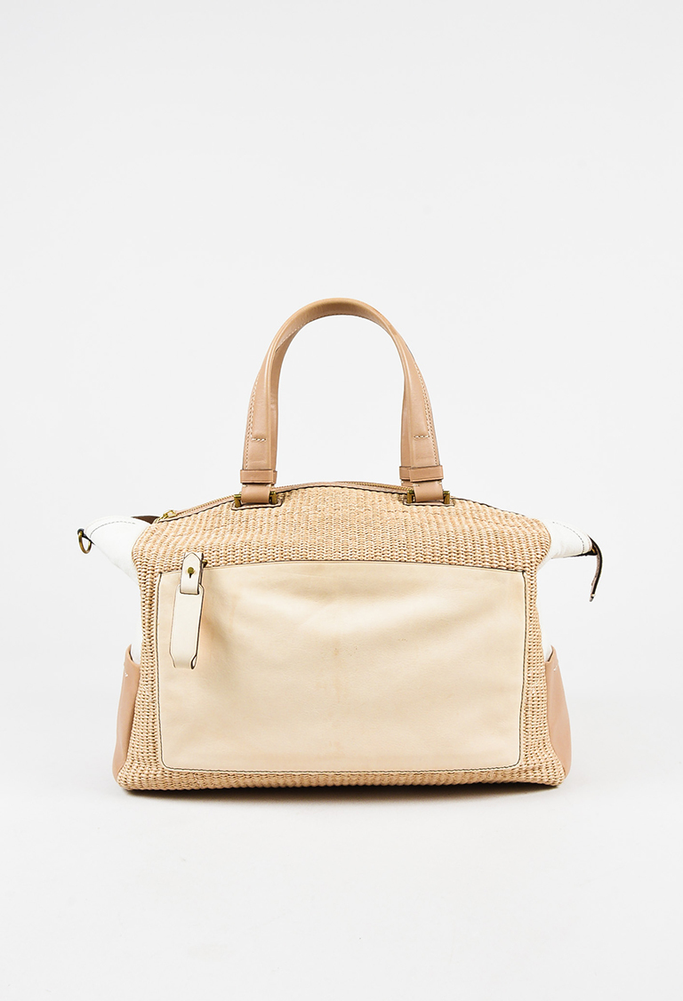 "Cream & Beige Canvas Leather Woven ""Uniform"" Tote Bag"