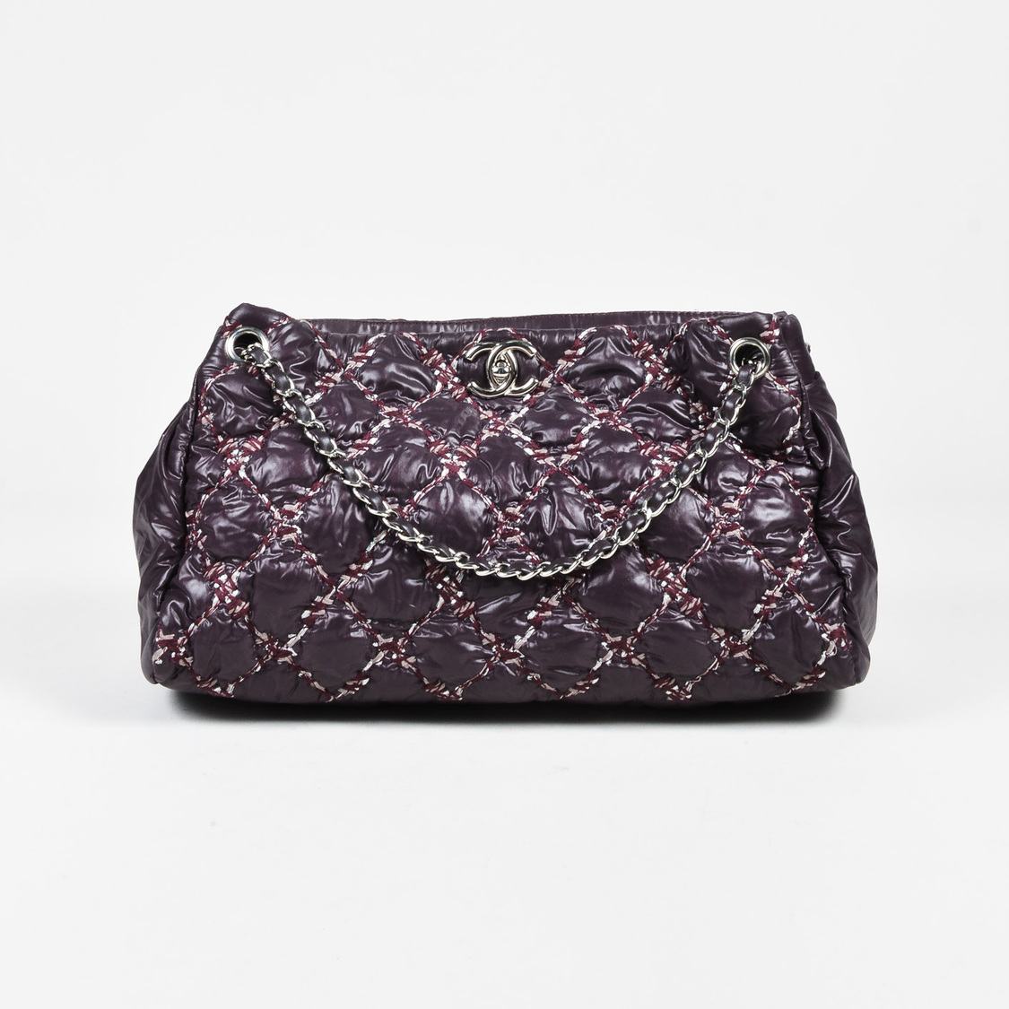 Chanel Purple Multi Nylon Quilted Bubble Tote Chain Link Bag - What is an invoice paypal chanel online store