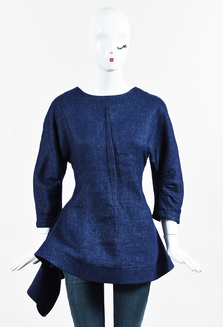 Dark Wash Denim Dolman Sleeve A Line Top