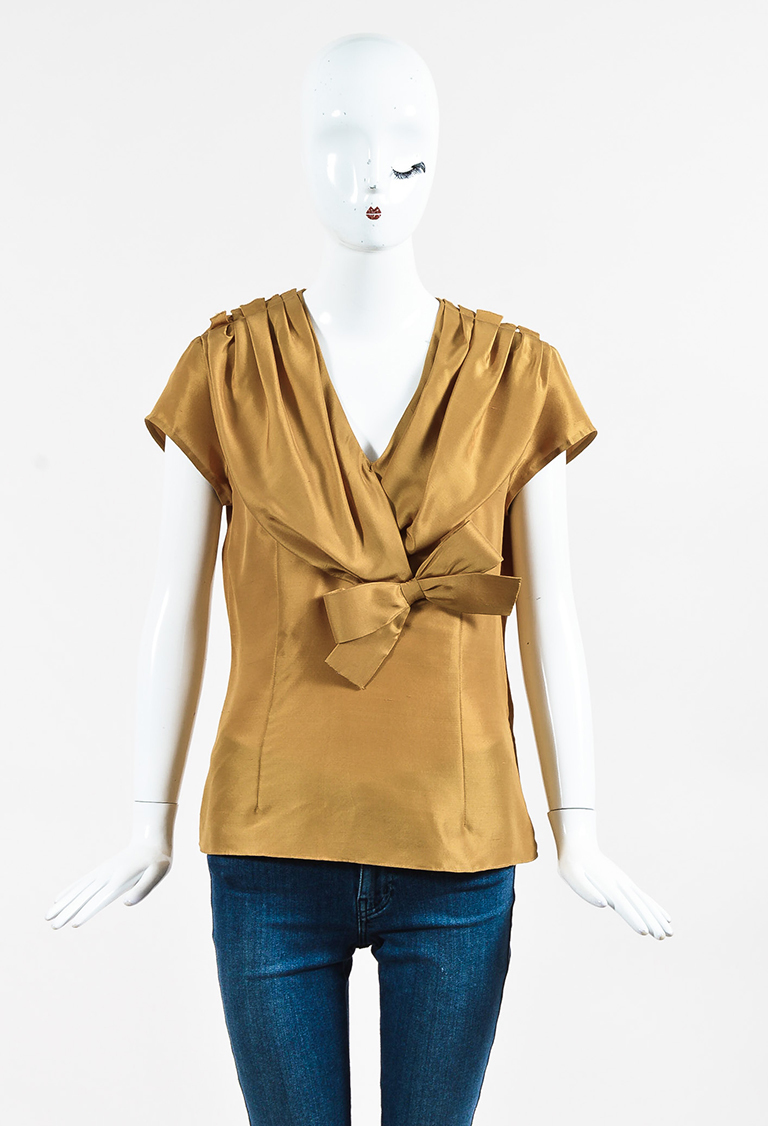 Golden Yellow Silk Pleated Bow Short Sleeve Blouse