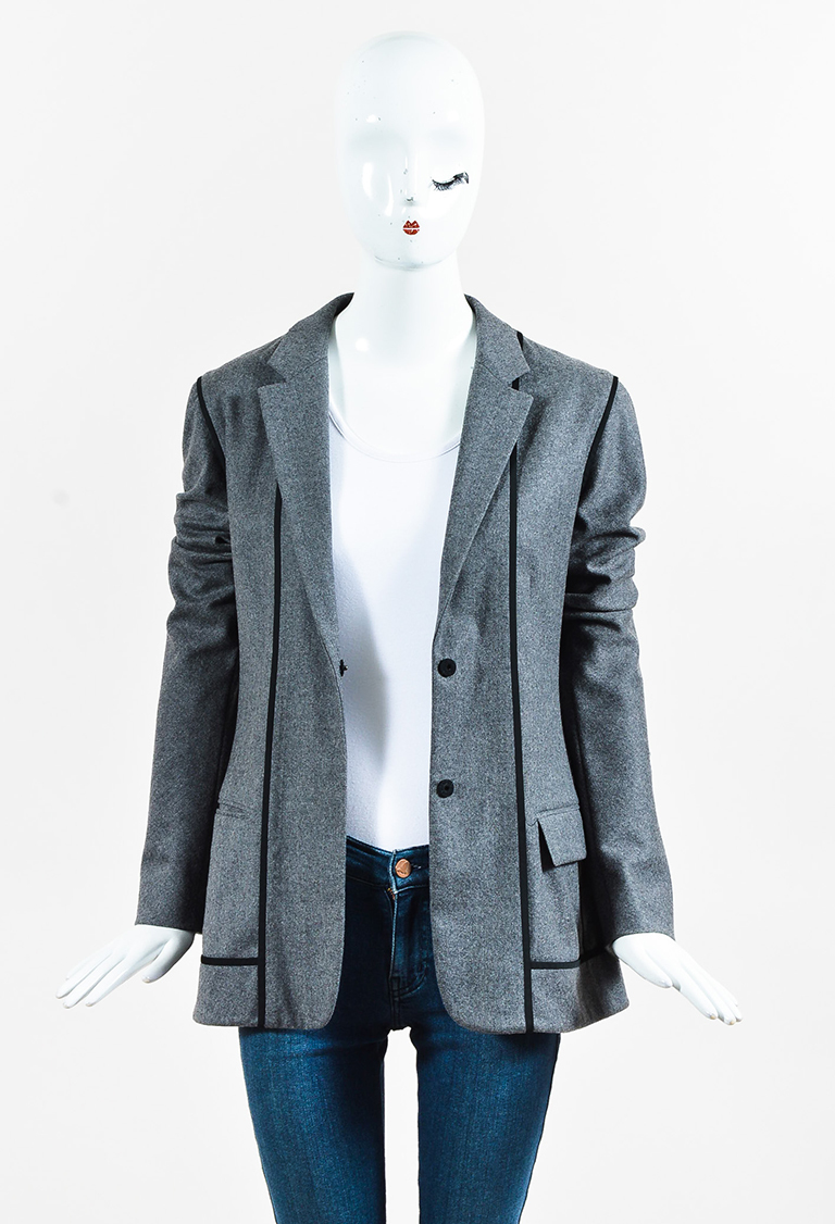 Gray Wool Blend Black Trim Darted Blazer Jacket