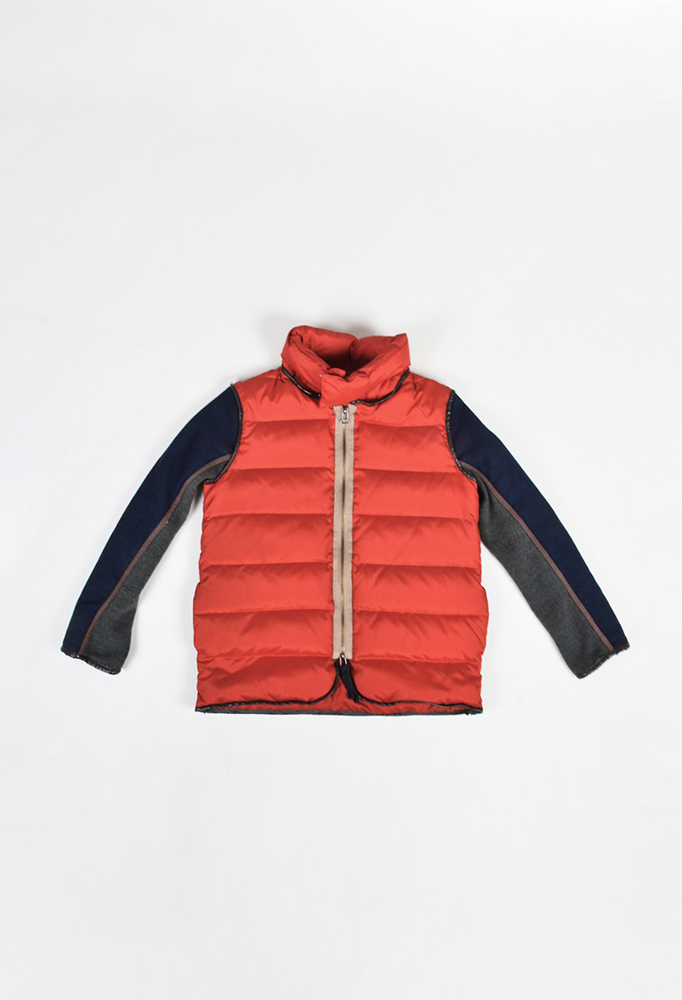 Kids' Red Multicolor Wool Goose Down Colorblock Puffer Jacket