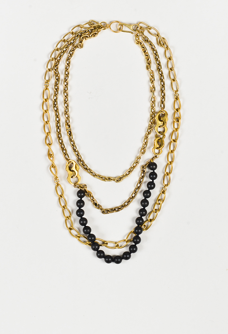 Gold Tone Metal Black Resin Chain Link Multi Strand Necklace