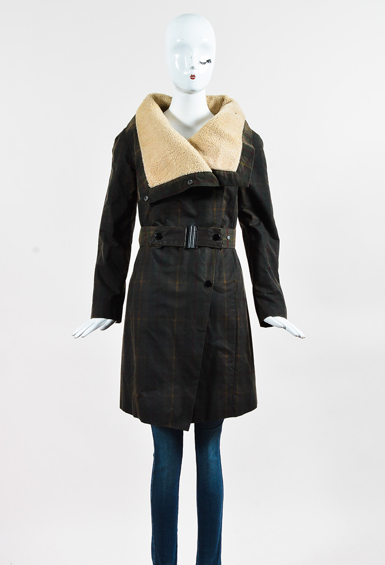 Green Multicolor Wool Plaid Belted Long Jacket