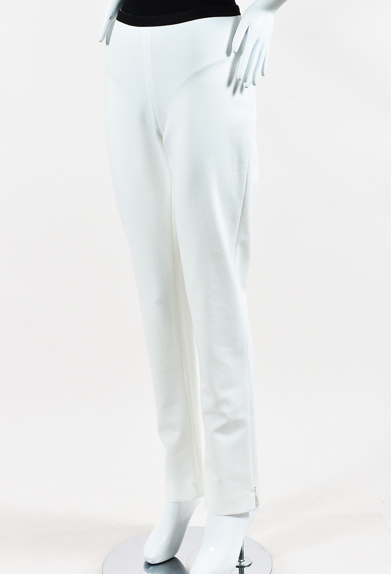 White & Black Knit Zip Ankle Skinny Pants