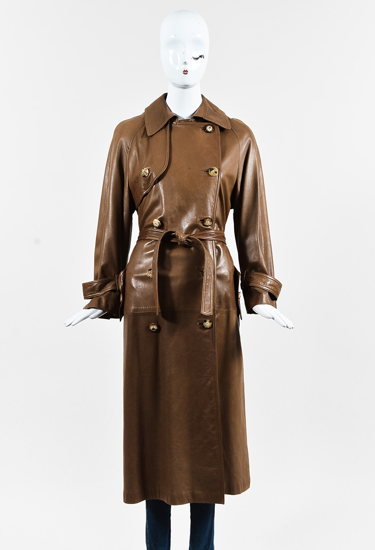Brown Lambskin Leather Double Breasted Belted Trench Coat