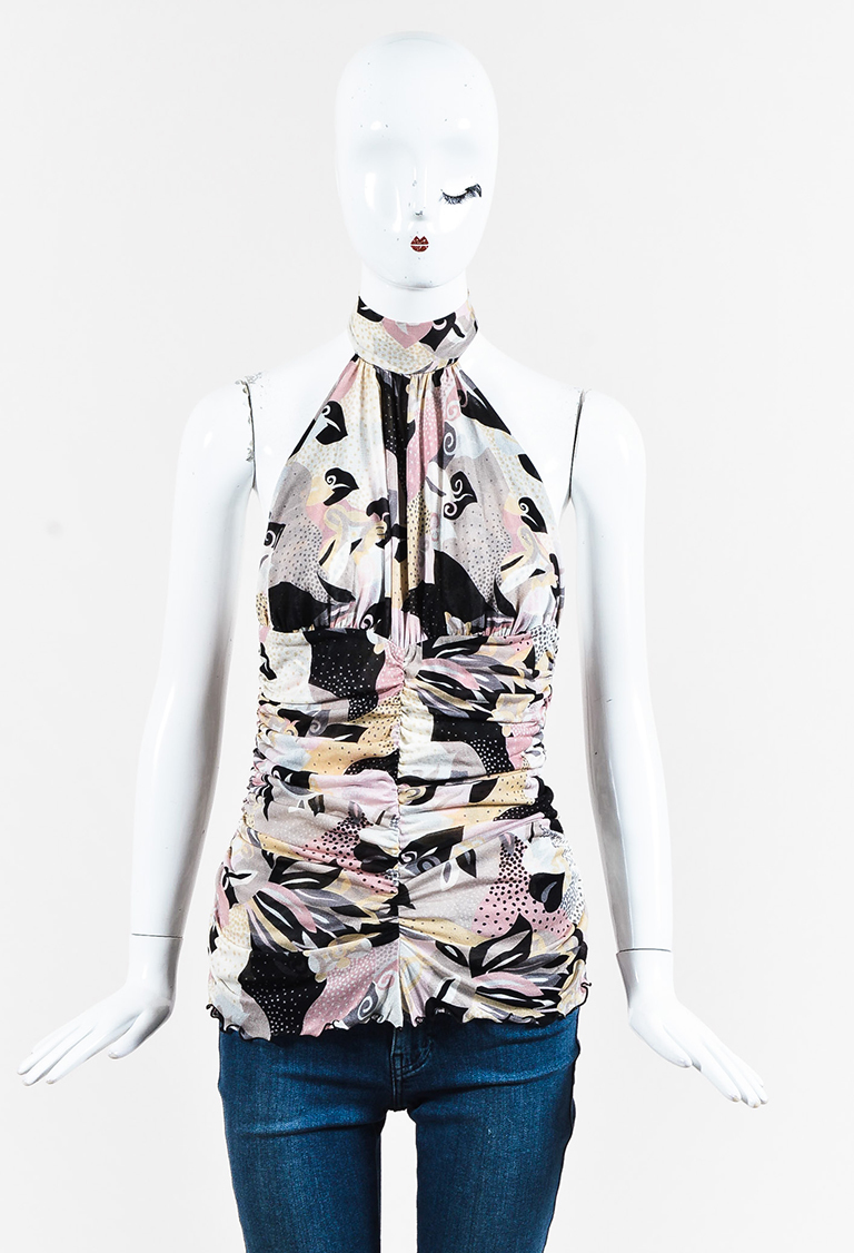 M  Multicolor Printed Knit Ruched Low Back Halter Top