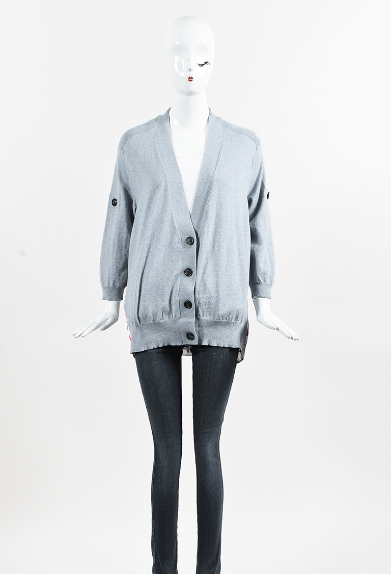 "Light Blue Cashmere Pleated Back ""Longfellow"" Long Sleeve Cardigan"