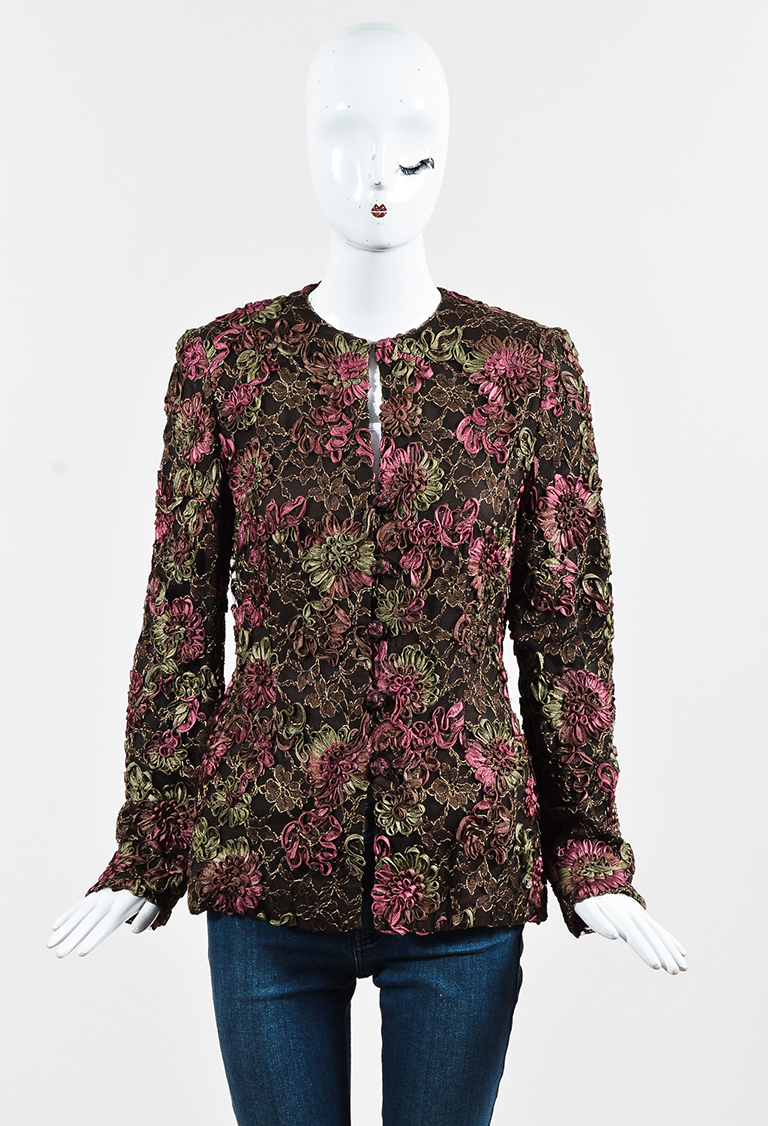 VINTAGE  Brown Multi Floral Embroidered Collarless Jacket