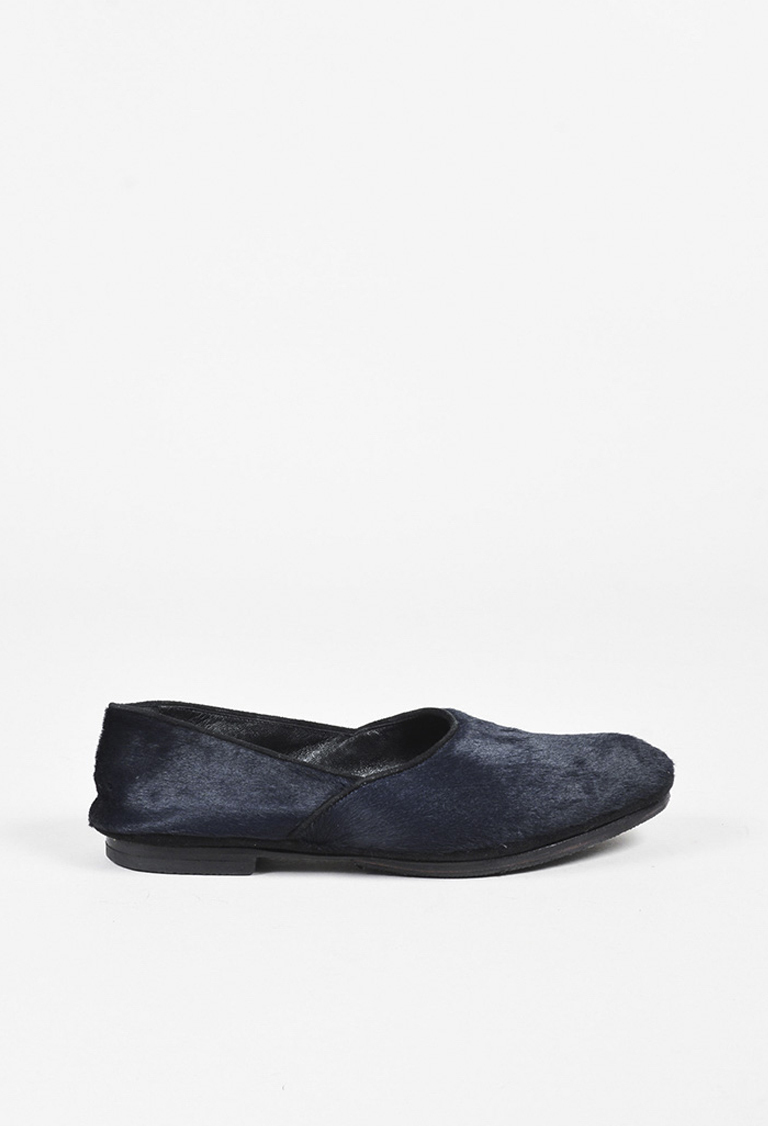 Blue & Black Pony Hair & Suede Slip On Loafers