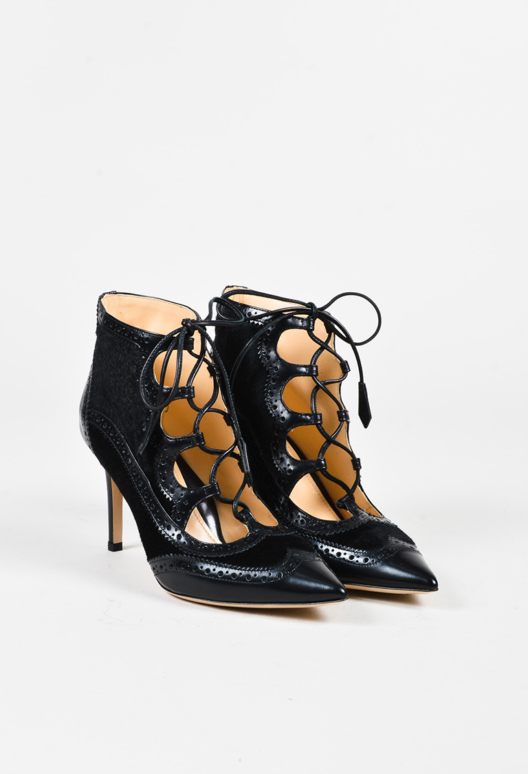 Black Pony Hair Leather Lace Up Miki Pointed Pumps