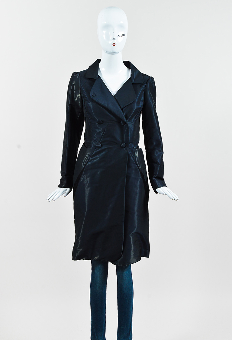 Blue & Black Moire Paneled Double Breasted Evening Jacket