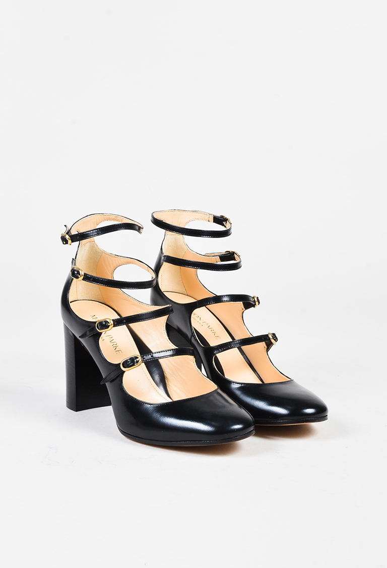 """Black """"Brushed Calf"""" Leather """"Kay"""" Strappy Pumps"""