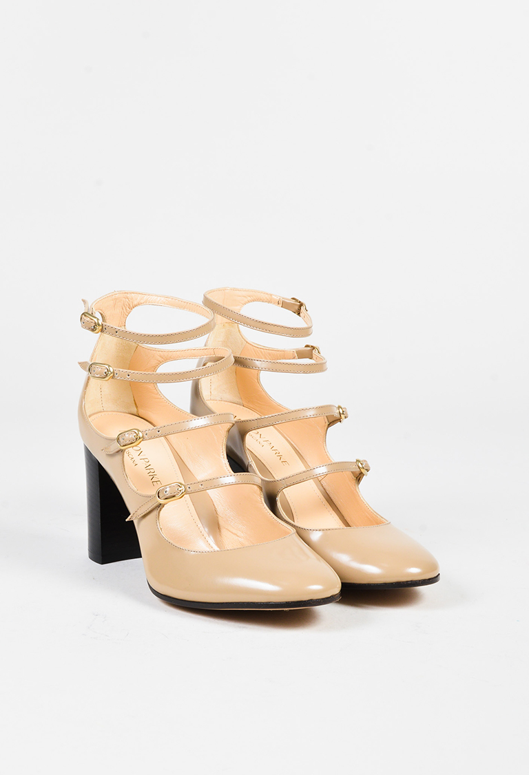 """Taupe """"Brushed Calf"""" Leather """"Kay"""" Pumps"""