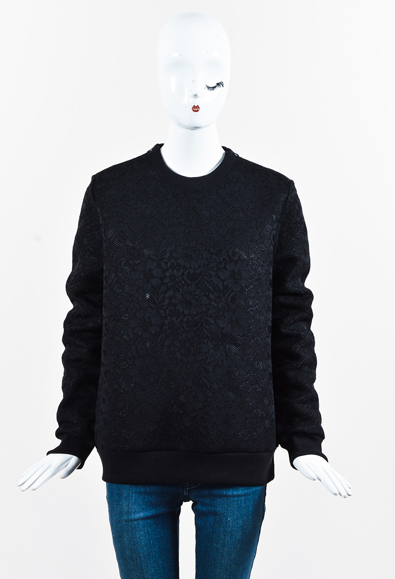 Black Floral Lace Ribbed Trim Crew Neck Long Sleeve Top