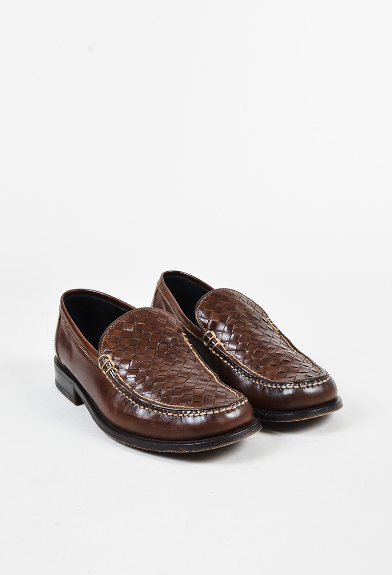 Brown Intrecciato Leather Low Heel Loafers